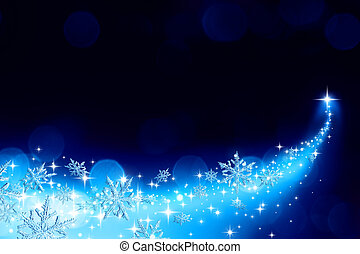 Christmas background with a trail of stardust and snowflakes...
