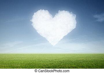 a cloud in heart shape in the sky