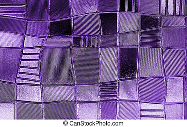 stained glass window with irregular block pattern in a hue...