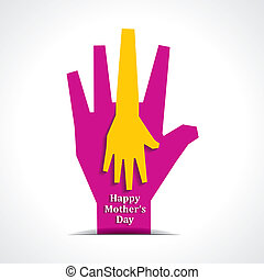 Happy mothers day with two hands of mother and child...