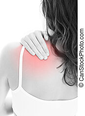 Woman Suffering From Shoulder Pain - Young Woman With Pain...