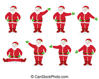 set of pointing Santa Clauses
