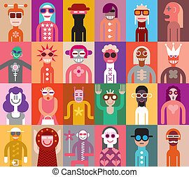 People vector illustration - Large group of people. Art...