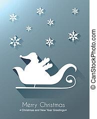 santa claus sleigh - vector santa sleigh design background