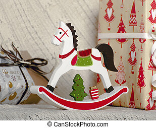 Christmas wooden toy horse
