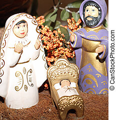 terracotta Nativity with Joseph with the black beard -...