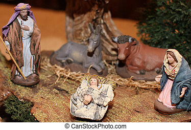 Classic Nativity scene  in a manger on Christmas 5