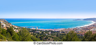 Javea panoramic in Alicante aerial view Valencian Community of spain with Mediterranean sea