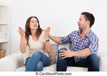 Young Couple Quarreling - Portrait Of Frustrated Couple...