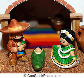 Mexican Hispanic Nativity with Joseph with a broad black...