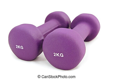 2 kg rubber dipped purple dumbbell, selective focus