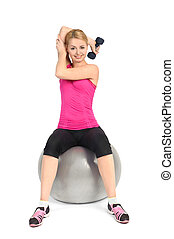 Young woman doing Seated Dumbbell One Arm Triceps Extensions...