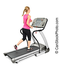 young woman doing exercises on treadmill, on white...