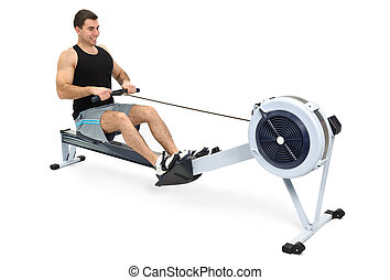 man doing indoor rowing - man exercising on rowing machine,...