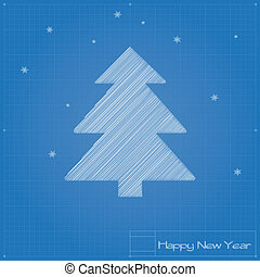 Christmas tree on blueprint Vector illustration