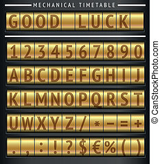 Set of letters on a mechanical timetable