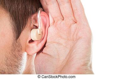 oreille, à, audition, aide