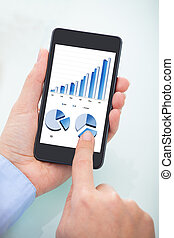 Person Analyzing Graph On Cell Phone - Close-up Of Person's...