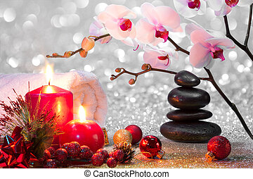 massage composition christmas spa with candles, orchid,...