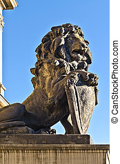 Sculpture of a lion on the porch of Koenigsberg Stock...