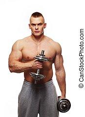 Dumbbells, ejercitar,  muscular, joven, guapo, hombre