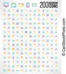 200 Trendy Thin Gradient Icons