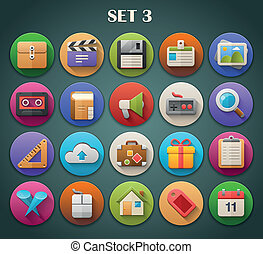 Bright Icons with Long Shadow 3 - Round Bright Icons with...