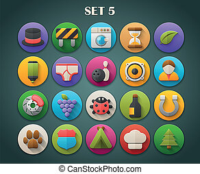 Bright Icons with Long Shadow 5 - Round Bright Icons with...