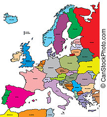 europe map - illustrated colored europe map isolated on...