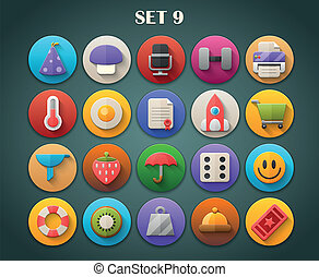 Bright Icons with Long Shadow 9 - Round Bright Icons with...