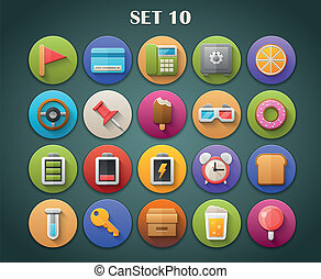 Bright Icons with Long Shadow 11 - Round Bright Icons with...