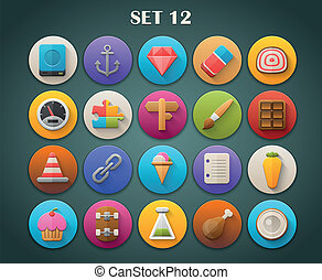 Bright Icons with Long Shadow 12 - Round Bright Icons with...