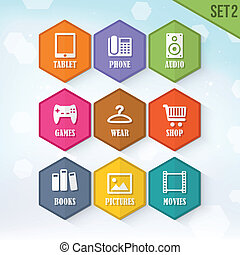 Vector Rounded Hexagon Icons 2
