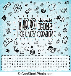100 Vector Doodle Icons Universal Set