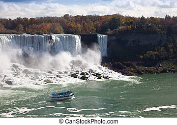 Tourist boat in the Niagara Falls Gorge Canada