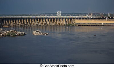 Sunset Light on Hydro Dam in Zaporizhzhya, Ukraine