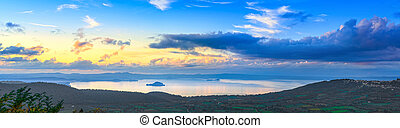 Bolsena lake aerial panoramic view from Montefiascone, Italy...
