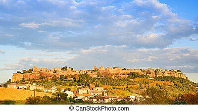 Orvieto medieval town panoramic view. Italy - Orvieto...
