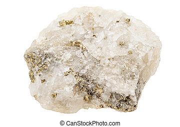 Fools gold, pyrite, in quartz