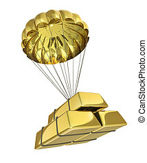 Golden Parachute isolated on white background