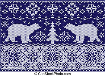 Knitted pattern with bears - Fashionable northern pattern...