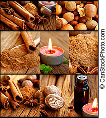 Spices collection collage
