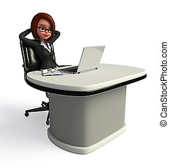 Business Woman with laptop - 3d rendered illustration of...