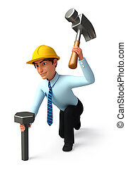 Service man with hammer - 3d rendered illustration of...