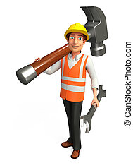 Worker with hammer