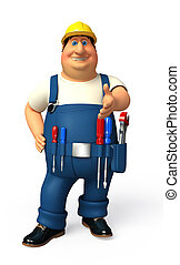 Plumber on the blank background - 3d rendered illustration...