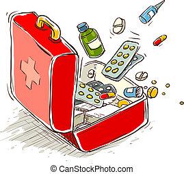 primeiro, ajuda, caixa, médico, drogas,...