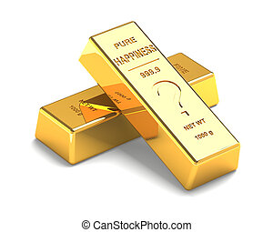 Set of Gold bars Isolated on the White Background. Labeled...