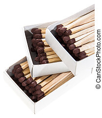 Matchsticks in a box isolated on white background