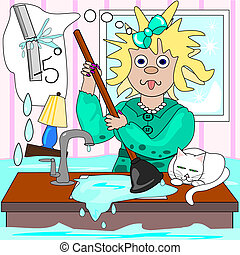 The frazzled plumber - A frazzled lady is trying to cope...